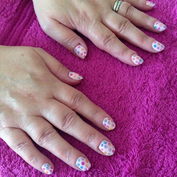 nails by natalie london CND yellow pigment polka dot manicure