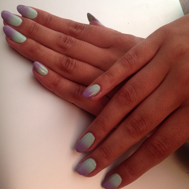 nails by natalie london Artistic charming with Shellac lilac longing ombre manicure