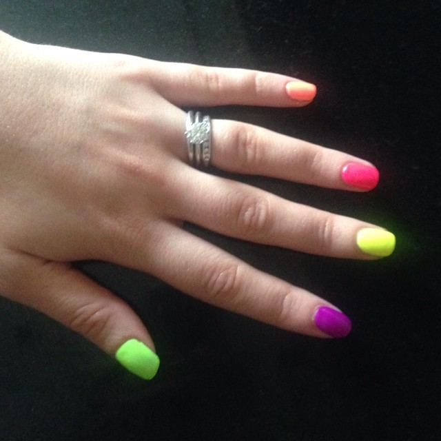 nails by natalie london neon colour green  Jessica GELeration yellow flame surfer boys n berry Pink explosion manicure