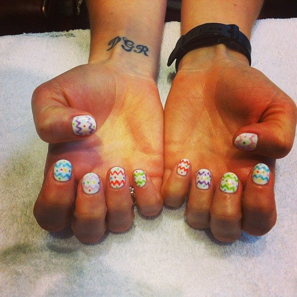 nails by natalie london Easter egg nails CND Shellac manicure