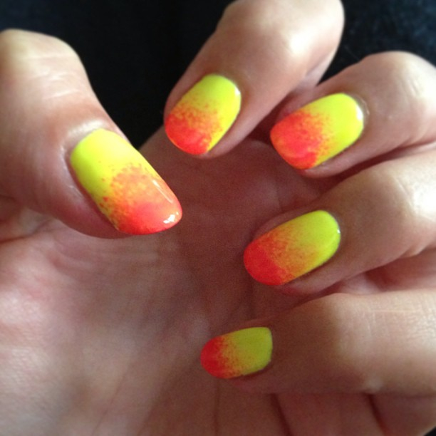 nails by natalie ibiza Jessica GELeration Yellow Flame with Pink Explosion Ombre manicure