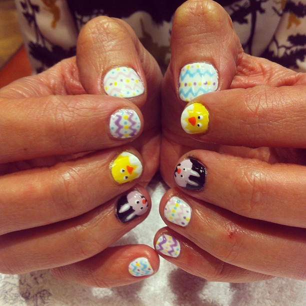 nails by natalie london easter nail eggs a chick and a bunny manicure