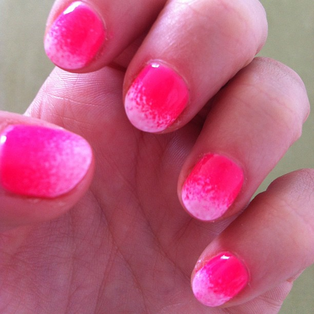 nails by natalie london neon pink with white ombre  Jessica GELeratoin pink explosion CND Shellac cream puff manicure