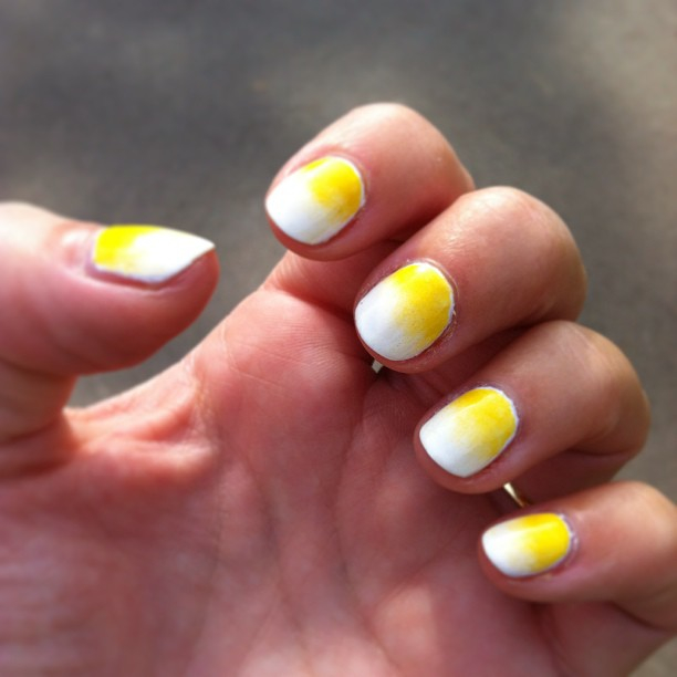 nails by natalie rose london Shellac Cream Puff and Yellow Pigment manicures from the comfort of your home