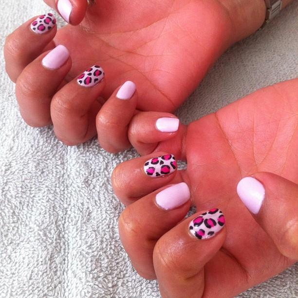 nails by natalie london leopard print Jessica GELeration pink explosion CND Shellac Cakepop manicure