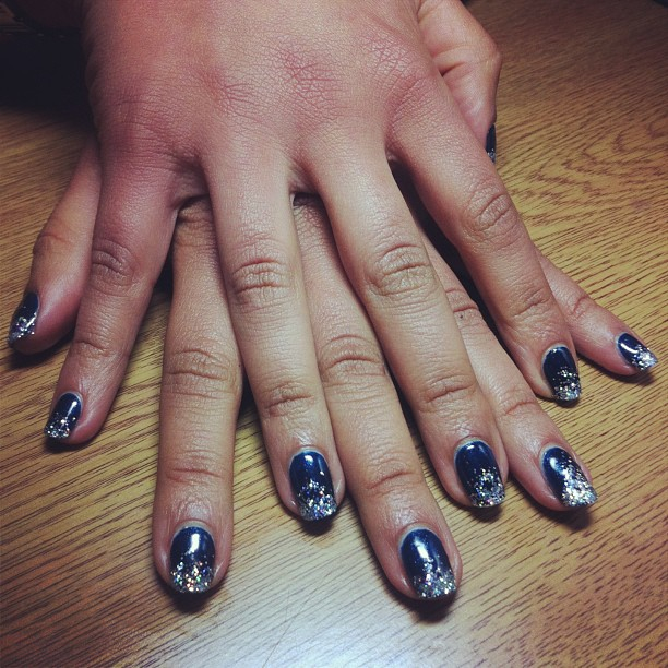 nails by natalie london nave blue CND Shellac Midnight Swim and sparkle Manicure