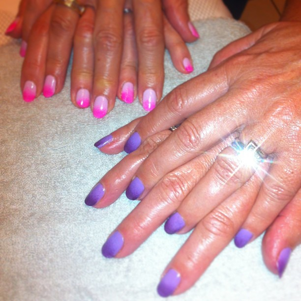nails by natalie london CND Shellac Cake Pop with Jessica GELeration Pink Explosion Ombre. and Lilac Longing with Rock Royalty Ombre manicures