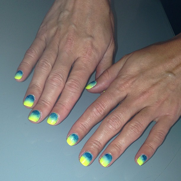 nails by natalie london Jessica GELeration Yellow Flame Gelish My Sugar Baby manicure