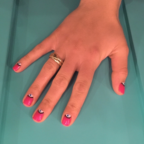 nails by natalie rose london mobile nail art technician manicure evil eyes pink