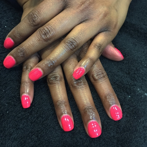 nails by natalie rose london mobile nail technician manicure pedicure hot pink