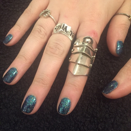 nails by natalie rose london mobile nail technician manicure pedicure Navy blue sparkle Vivienne Westwood rings