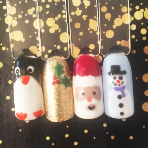 nails by natalie rose london mobile nail technician manicure pedicure christmas santa snowman holly penguin