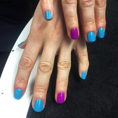 nails by natalie rose london mobile nail technician manicure pedicure turquoise purple combo