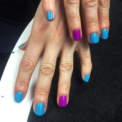 nails by natalie rose london mobile nail technician manicure pedicure turquoise purple combo