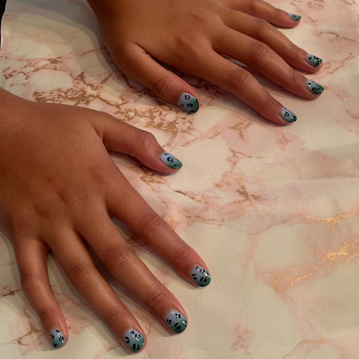 nails by natalie rose mobile manicure london Nail Party Ombre Leopard Print